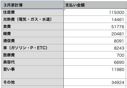 3月家計簿表